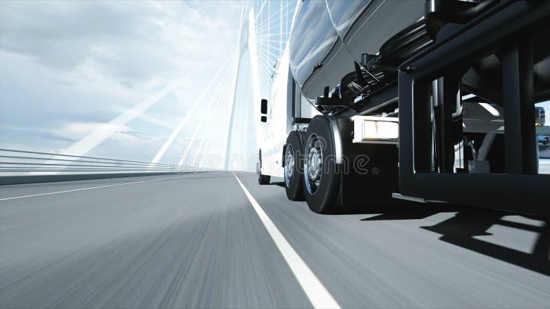 3d model of gasoline tanker, trailer, truck on highway. Very fast driving. 3d rendering. vector illustration