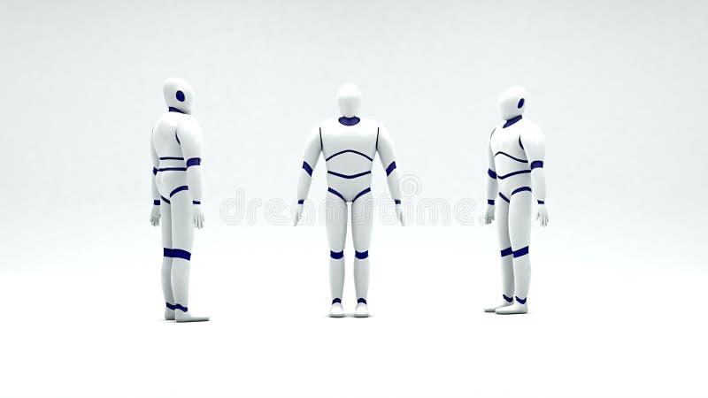 3D model humanoid robot ilustracja wektor