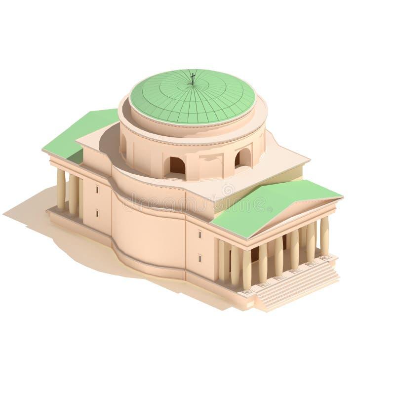 3d model isometric Christian church icon building illustration on white background vector illustration