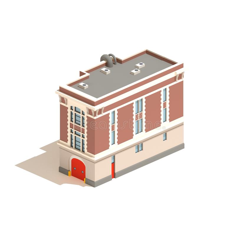 3d model isometric fire station isolated on white background royalty free illustration