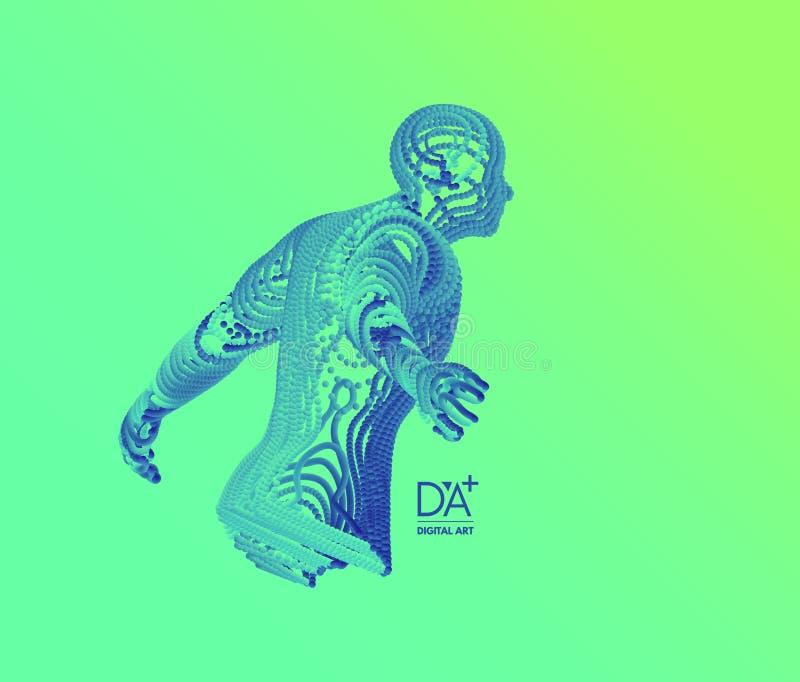 3D model mężczyzna sztuczna inteligencja Technologii i inżynierii pojęcie również zwrócić corel ilustracji wektora Druciany związ ilustracji