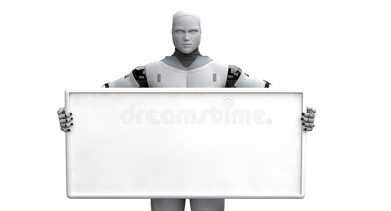 Male Robot Holding Blank Sign. 3d model of a male robot holding a blank billboard sign vector illustration