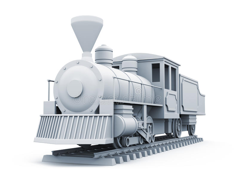 3D model of old steam locomotive. Isolated on white background vector illustration