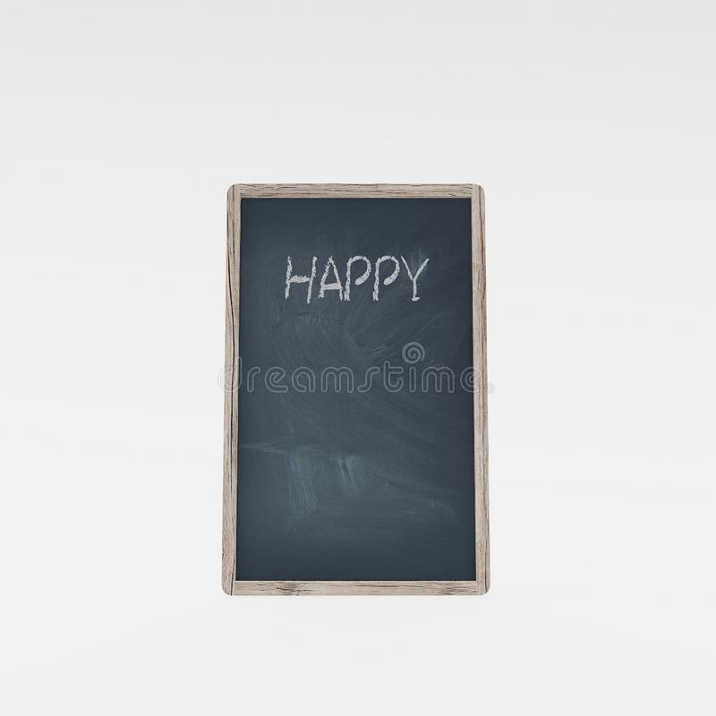 Ð¡halk board with the word `Happy` royalty free stock images