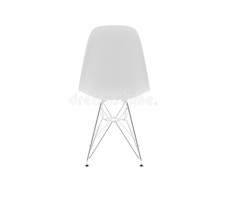 Back view. White plastic dining chair stock image