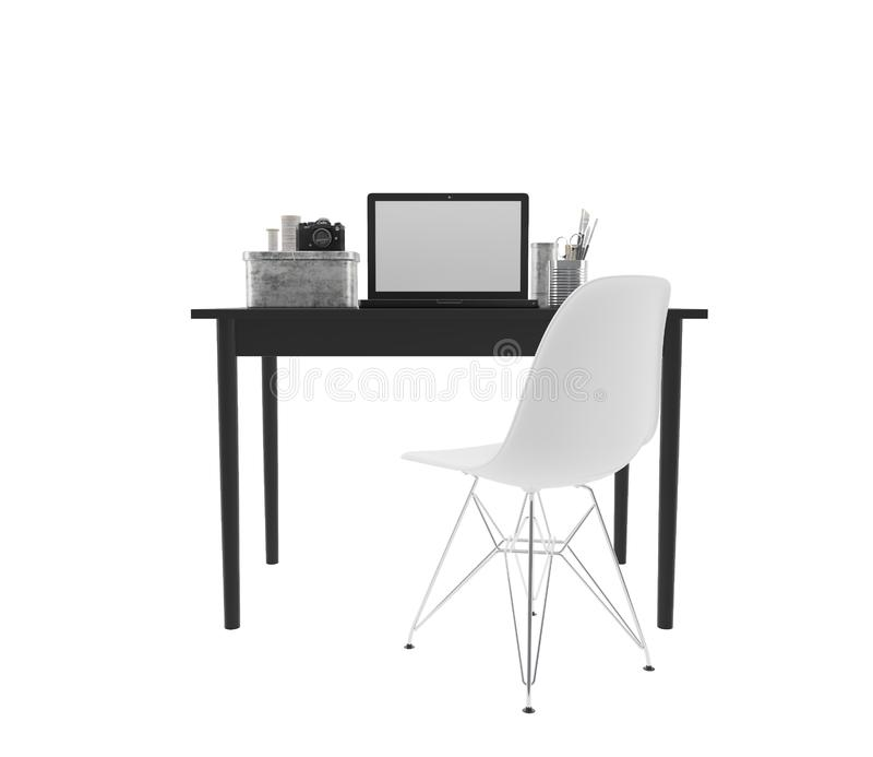Workplace with black desk, computer and white chair stock photography