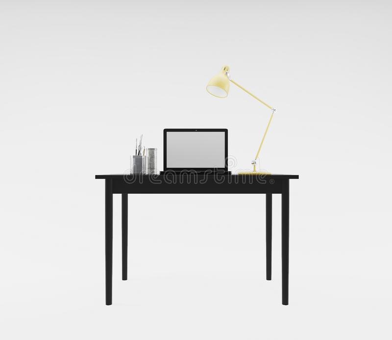Workplace with computer and desk lamp stock photo