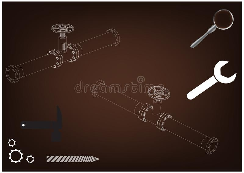 3d model rurociąg royalty ilustracja