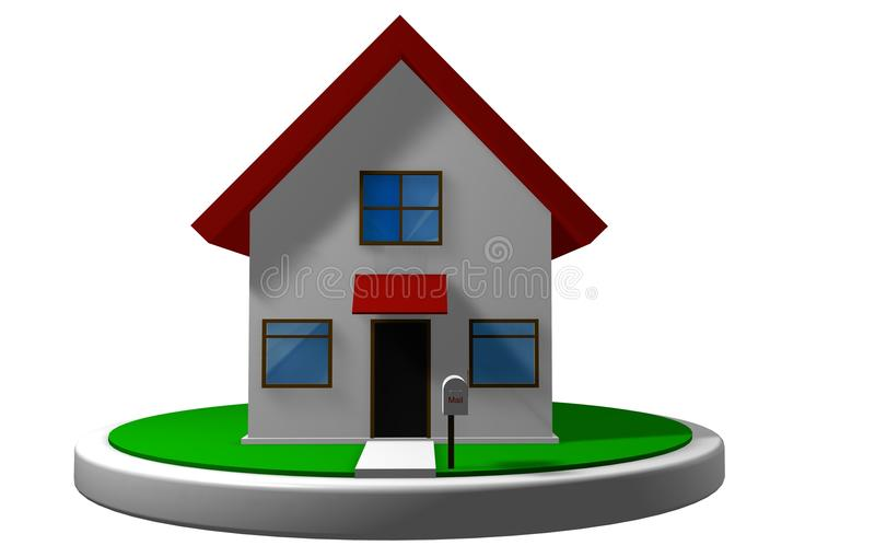 3D model of a small house with red roof on a white disk, with a mailbox in front vector illustration