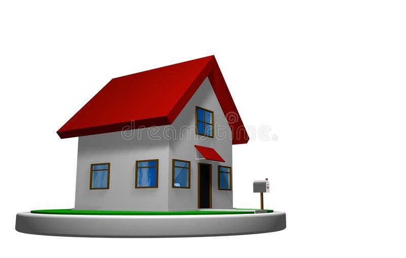 3D Model Of A Small House With Red Roof On A White Disk, With A