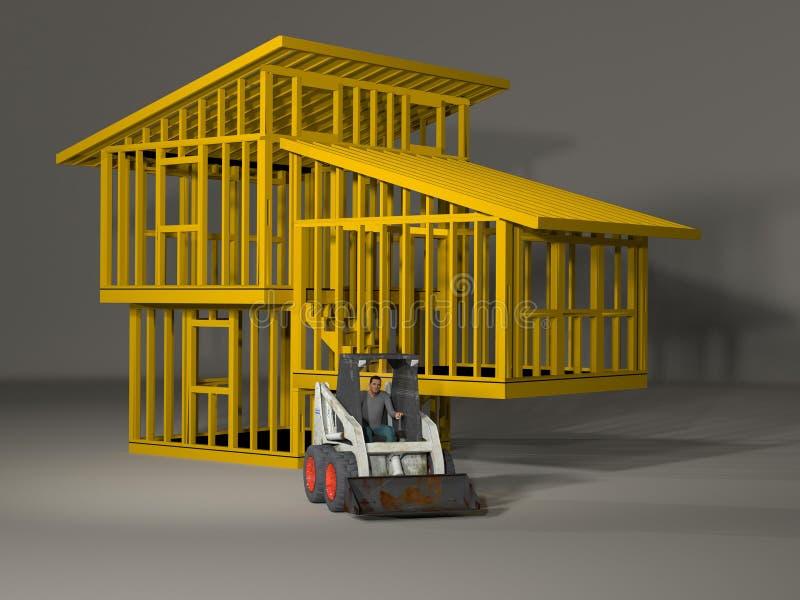 3d model of a split level house frame vector illustration