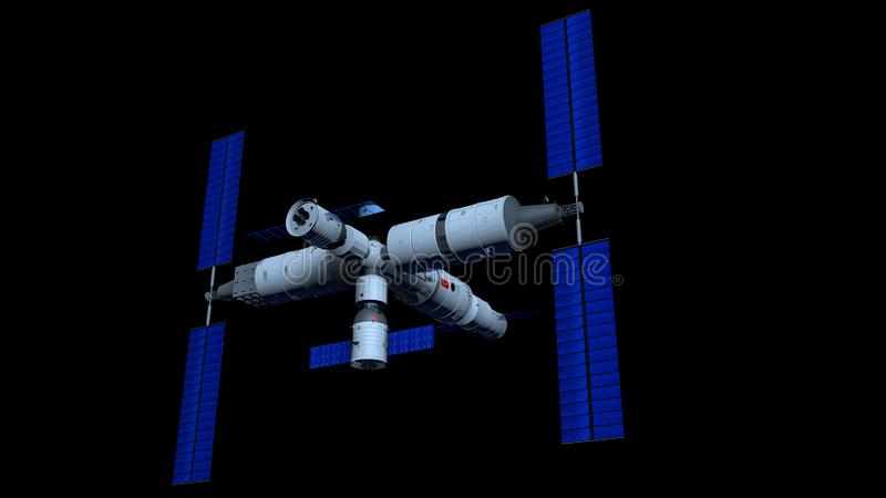 3D model of the TIANGONG 3 - Chinese Space Station with TIANHE core module on black background. 3D Illustration vector illustration