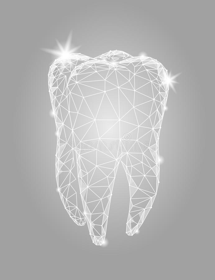 3d model tooth polygonal structure logo. Stomatology symbol low poly triangle abstract oral medical care business royalty free illustration