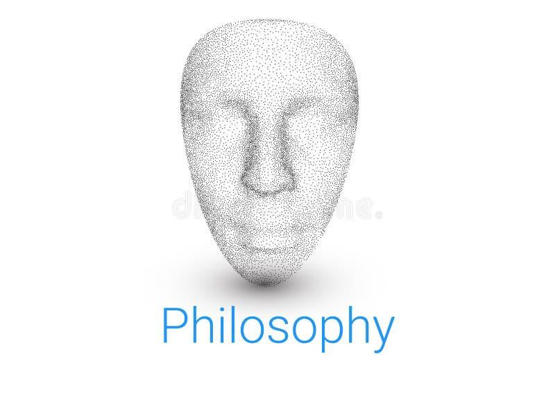 3D model twarz ludzka Tło dla podręcznika na filozofii, logo dla teatru lub pseudo, psycholog ilustracja wektor