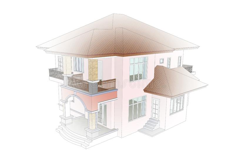 3d model two story house stock images