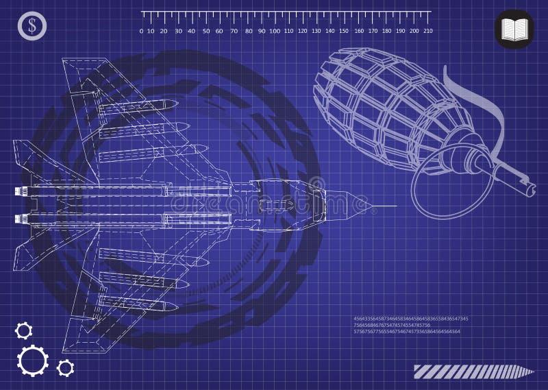 3d model van een vechter en een granaat vector illustratie