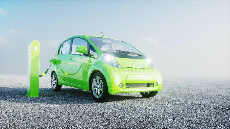 3d model van elektrische nieuwe auto's in voorraad De Auto's van het autohandel drijven voor Verkoop Het concept van de ecologie  stock illustratie
