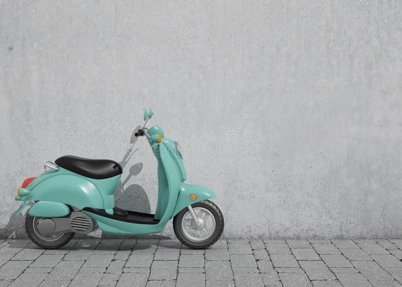 3D model van groene uitstekende autoped voor de oude muur, achtergrond royalty-vrije illustratie