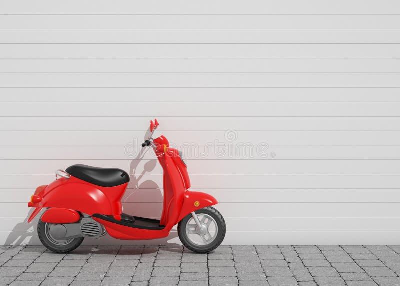3D model van rode uitstekende autoped voor de muur, achtergrond royalty-vrije illustratie