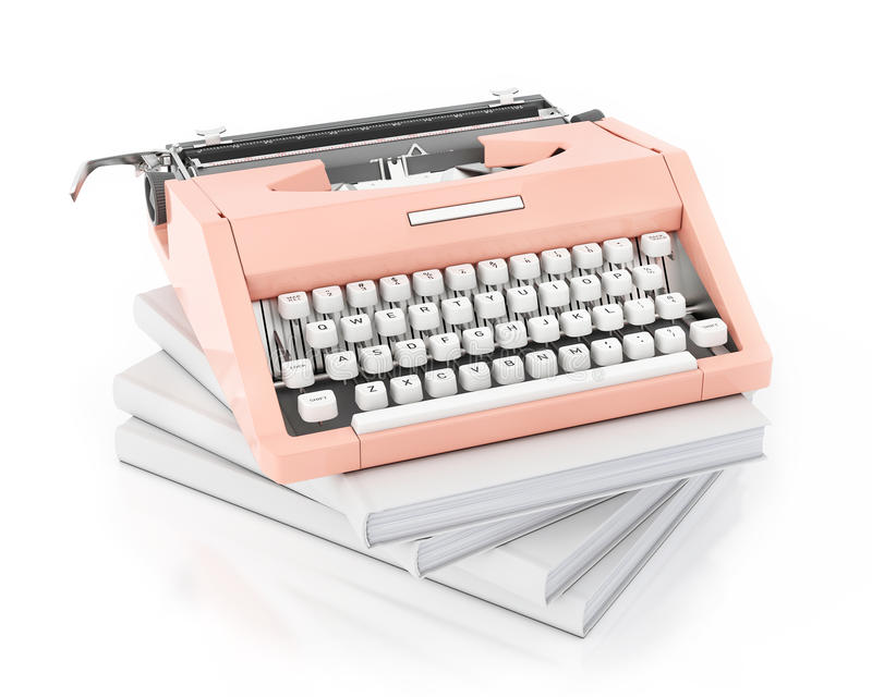 3d model van uitstekende roze het typen machine op stapel van lege die boeken, op witte achtergrond wordt geïsoleerd stock afbeelding