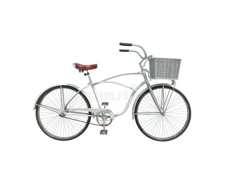 3d model van witte die retro fiets op witte achtergrond wordt geïsoleerd royalty-vrije illustratie