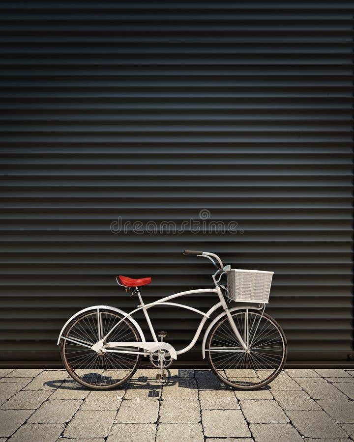 3d model van witte retro fiets met mand voor de deur van de metaalgarage, achtergrond vector illustratie