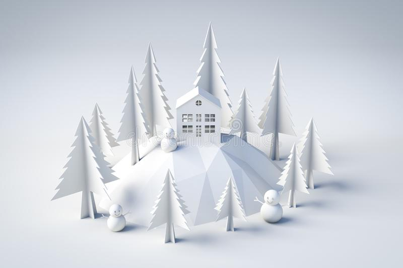 3d model winter and christmas concept vector illustration