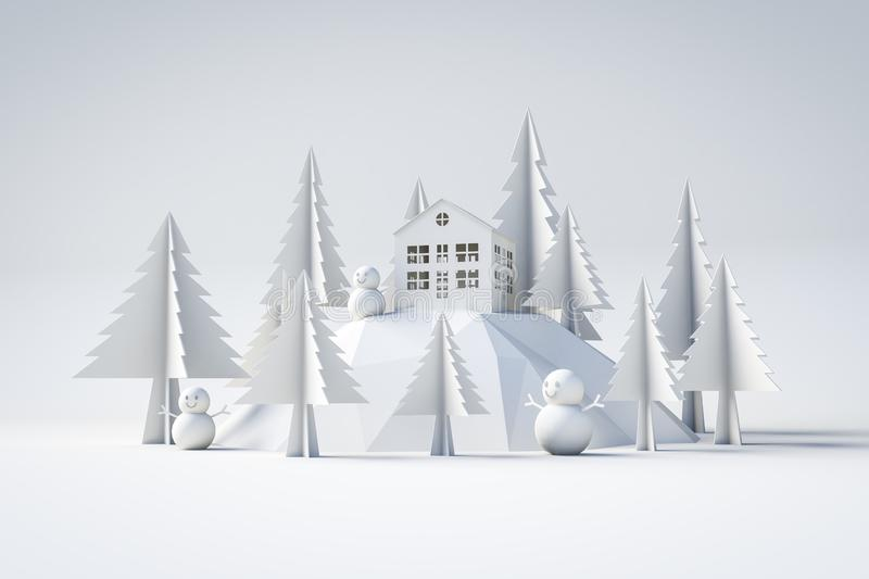 3d model winter and christmas concept. White isolated background stock illustration