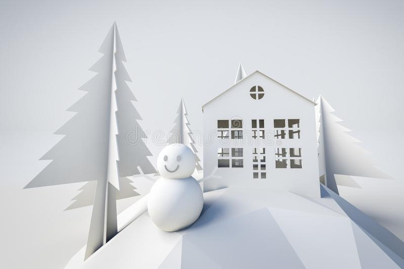 3d model winter and christmas concept royalty free illustration
