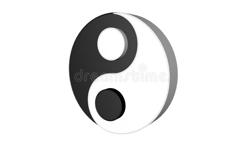 3d model of Ying and Yang. Two concepts of Chinese philosophy stock illustration