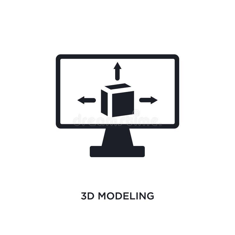 3d modelant l'icône d'isolement illustration simple d'élément des icônes du concept general-1 3d modelant la conception editable  illustration libre de droits