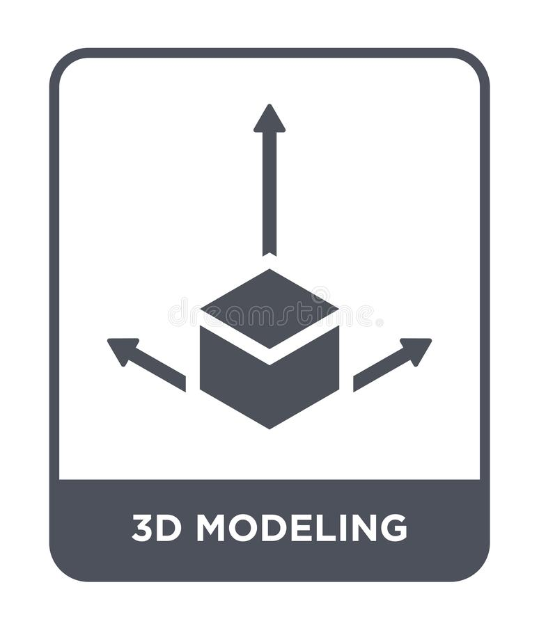 3d modelarska ikona w modnym projekta stylu 3d modelarska ikona odizolowywająca na białym tle 3d modelarska wektorowa ikona prost royalty ilustracja