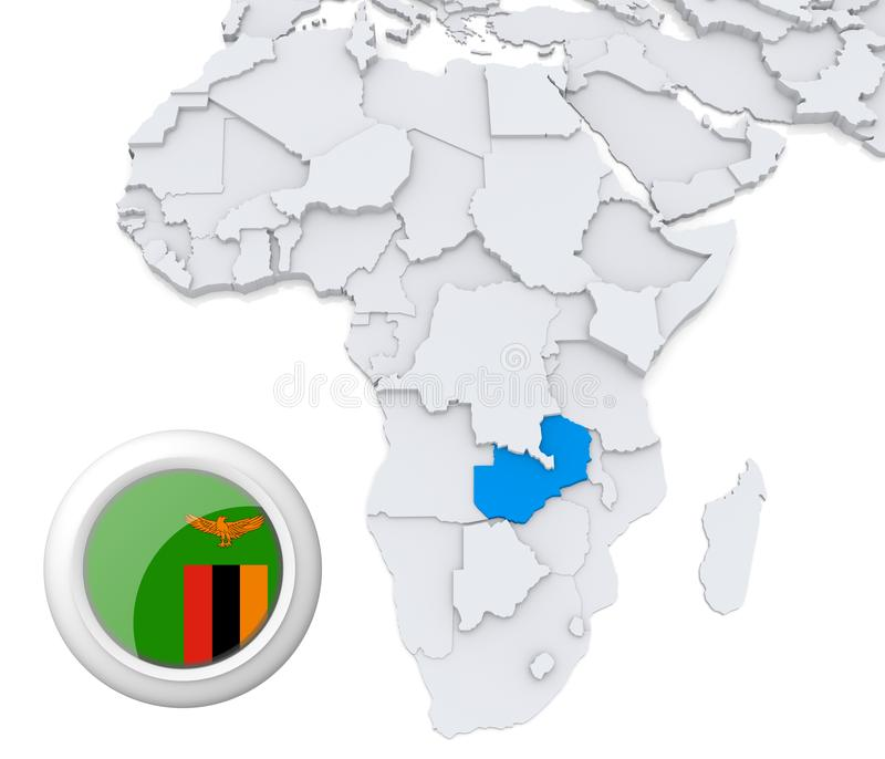 Zambia on Africa map vector illustration