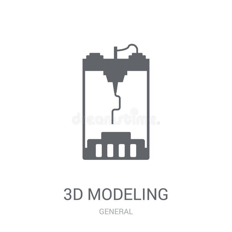 3d modelleringspictogram  vector illustratie