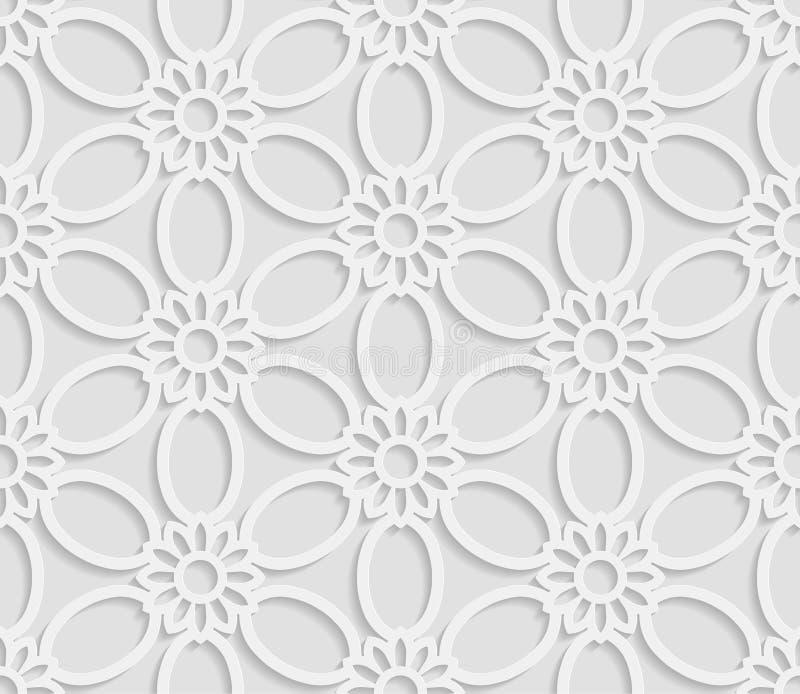 3D modello bianco senza cuciture, modello floreale, ornamento indiano, motivo persiano illustrazione vettoriale