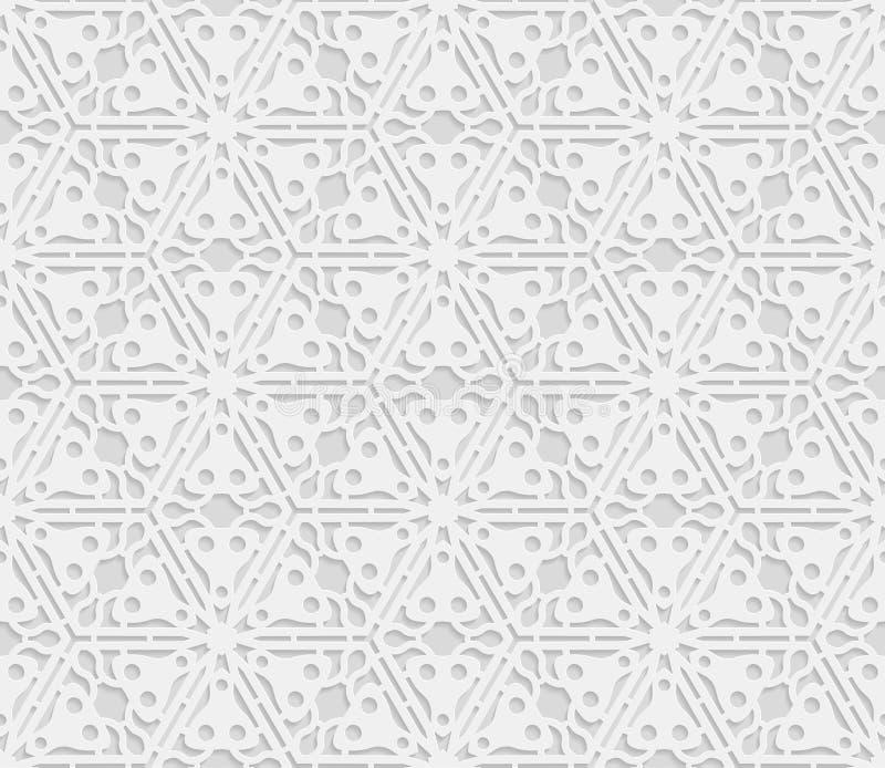 3D modello bianco senza cuciture, ornamento indiano, motivo persiano, vettore illustrazione vettoriale