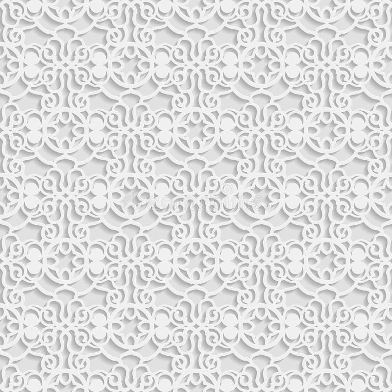 3D modello bianco senza cuciture, ornamento indiano, motivo persiano, vettore La struttura senza fine può essere usata per la car illustrazione vettoriale
