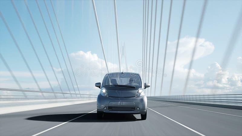 3d modello dell'automobile elettrica sul ponte, azionamento molto veloce Concetto di ecologia rappresentazione 3d illustrazione vettoriale