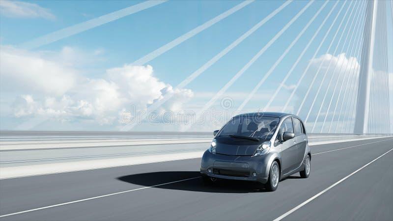 3d modello dell'automobile elettrica sul ponte, azionamento molto veloce Concetto di ecologia rappresentazione 3d royalty illustrazione gratis