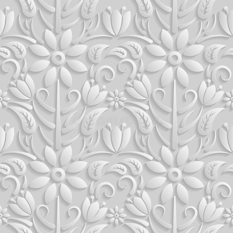 3D modelo blanco inconsútil, estampado de flores natural, La textura sin fin se puede utilizar para el papel pintado, terraplenes libre illustration