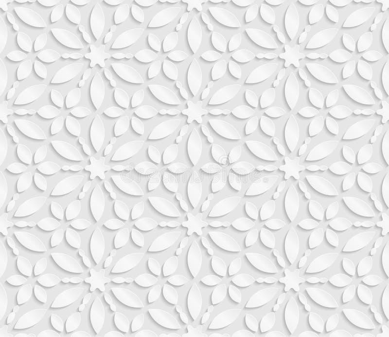 3D modelo blanco inconsútil, estampado de flores, ornamento indio, adorno persa, vector La textura sin fin se puede utilizar para stock de ilustración