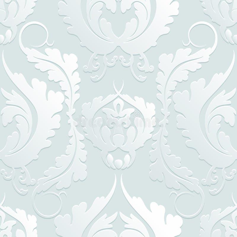 3d modelo floral inconsútil Damasco Flores grandes elegantes en un fondo ligero Puede ser utilizado para diseñar las telas, papel libre illustration