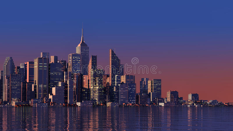 3D modern city on water royalty free stock photos