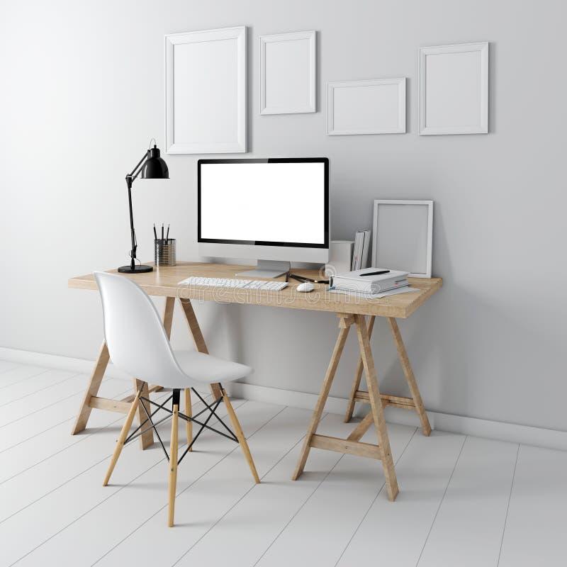 3d modern computer workplace. Desk