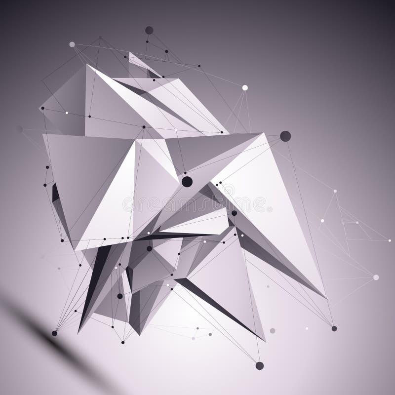 3D modern cybernetic abstrakt bakgrund, futuristisk tem för origami royaltyfri illustrationer
