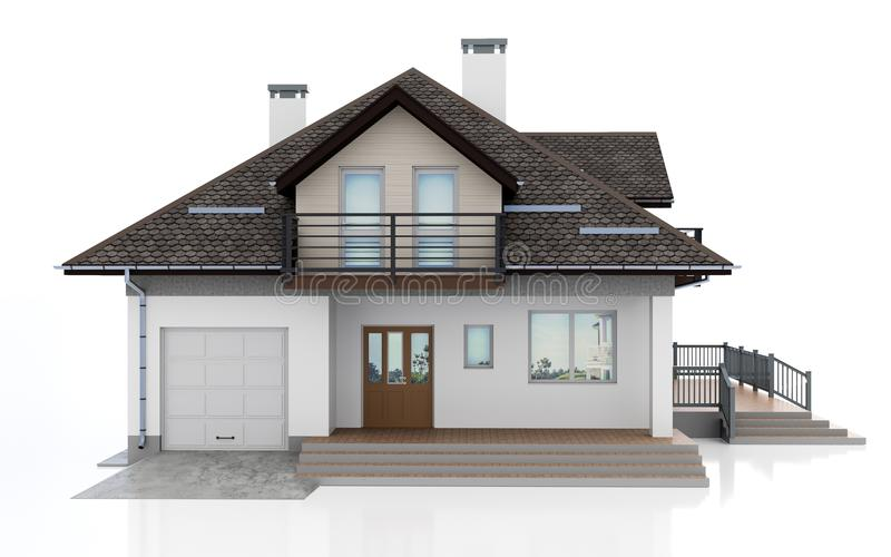 3d modern house stock illustration