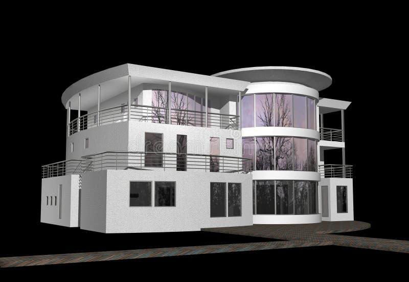 3D modern huis op zwarte vector illustratie