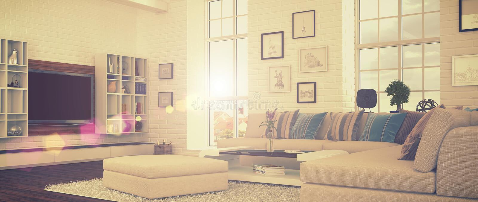 3d - modern livingroom - retro stil - sköt 41 stock illustrationer