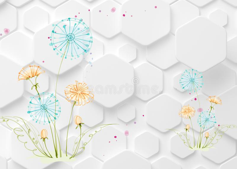3d modern mural wallpaper and silhouettes of dandelions . white background with leaf and flowers . Visually expand the space in a small room, bring more light stock illustration