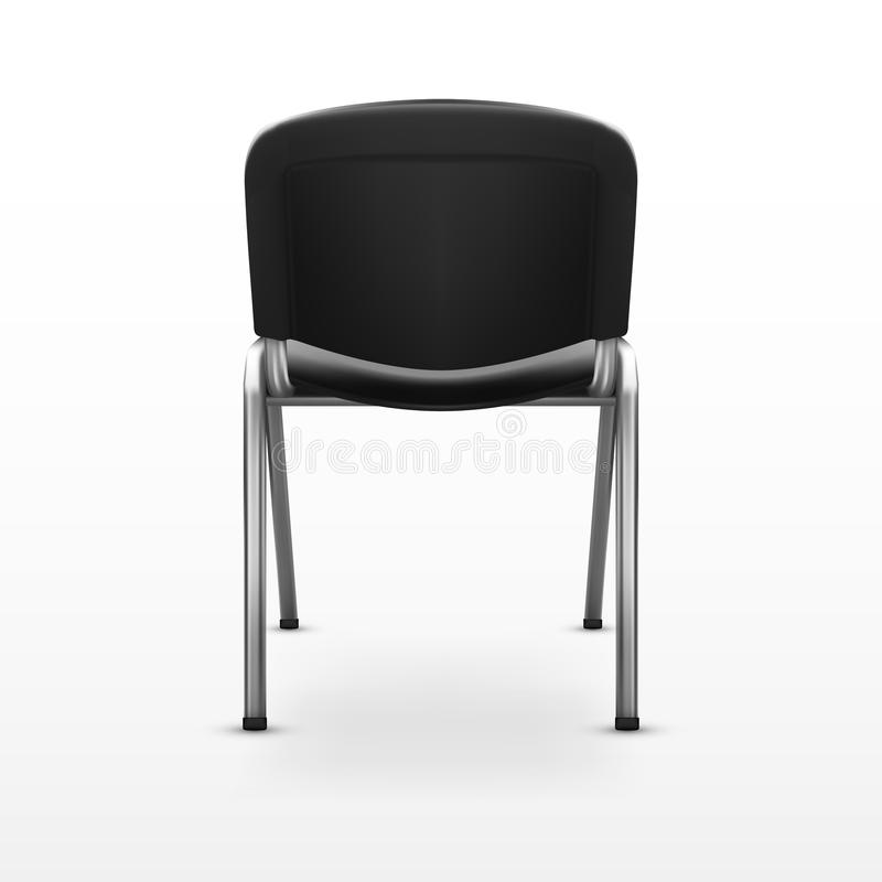 3D Modern Office Chair Black Cloth. Back View stock illustration